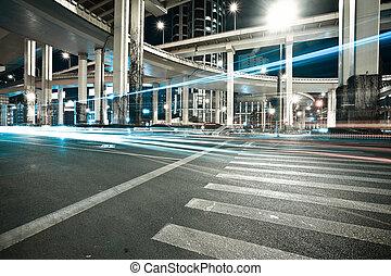 都市, 陸橋, 現場, 道, 夜