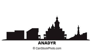 都市, 隔離された, 黒, 旅行, スカイライン, anadyr, ロシア, illustration., 都市の景観,...