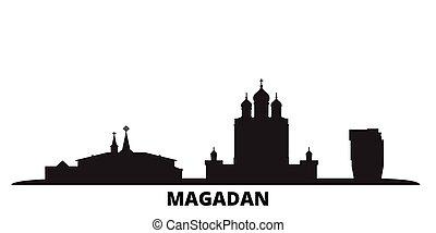 都市, 隔離された, 黒, 旅行, スカイライン, magadan, ロシア, illustration., 都市の景観...