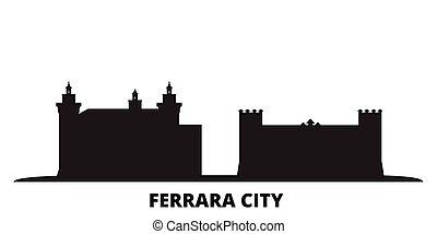 都市, 隔離された, ferrara, 旅行, 黒, イタリア, スカイライン, illustration., ...
