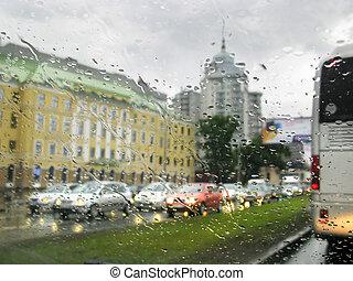 都市, 雨, 交通