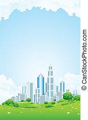 都市, 風景, ∥で∥, 緑丘