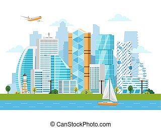 都市, 風景, ベクトル, 超高層ビル, 痛みなさい