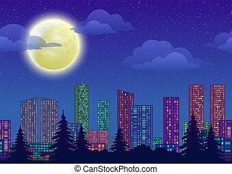 都市, 風景, 夜