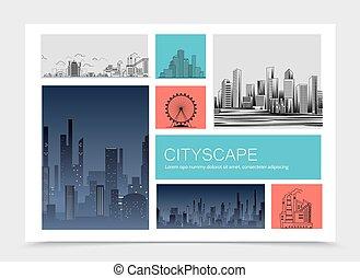 都市, 風景, 構成