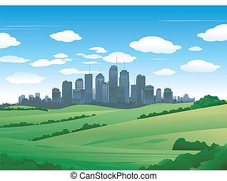 都市, 風景, 自然