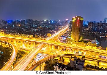都市, 高速道路, 合流点, 道, 夜