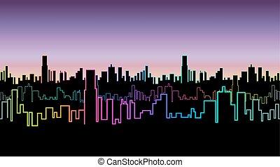 都市, 鮮やか, skyscrapers., ネオン, seamless, color., ヘッダー, 輪郭, versicolor, 夜, 白熱