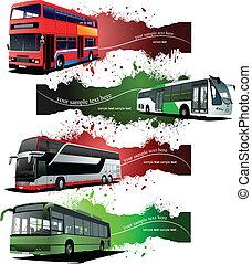 都市, 4, バス, グランジ, 旗