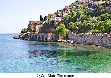 都市, alanya, 城砦, 古い, トルコ語
