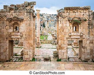 都市, artemis, 寺院, によって, jerash, 出入口