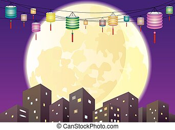 都市, b, 祝祭, 中央の, 秋, 夜