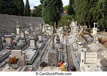 都市, boninovo, 地区, dubrovnik, 墓地, croatia, dalmatia