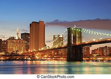 都市, brooklyn, ヨーク, 新しい, マンハッタン, 橋