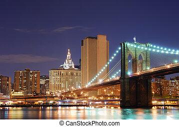 都市, brooklyn, ヨーク, 新しい, マンハッタン 橋