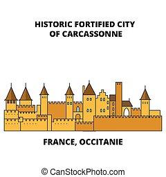 都市, carcassonne, occitanie, 線である, 強化された, 旅行, -, フランス, 歴史的, ベクトル, ランドマーク, design., 線, スカイライン, illustration.
