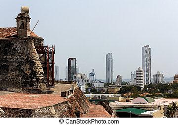 都市, cartagena, de, felipe, 城, 光景, barajas, san