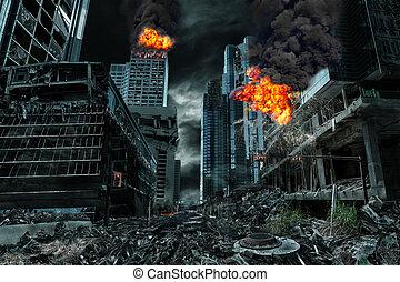 都市, cinematic, 破壊された, 描写