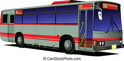 都市, coach., bus., 青い赤