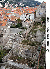 都市, croatia, 古い, dubrovnik, 光景