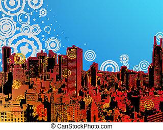 都市, design., グランジ, eps, 8
