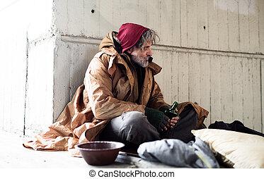 都市, donation., こじき, モデル, お金, 請求, ホームレスである, 屋外で, 人