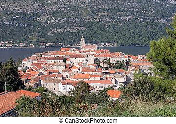 都市, dubrovnik, korcula., 島, 小さい, croatia.