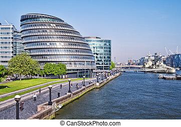 都市, exposure), (long, ロンドン, タワー, bridge., ホール, 光景