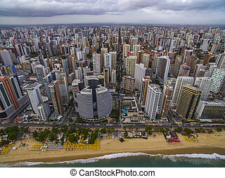 都市, fortaleza, aeria, cear?, brazil., 光景