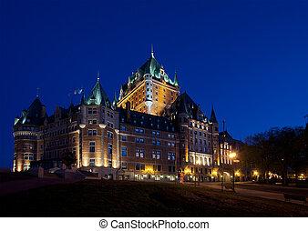 都市, frontenac, ケベック, 城, サイド光景