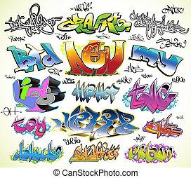 都市 graffiti, ベクトル, 芸術, セット