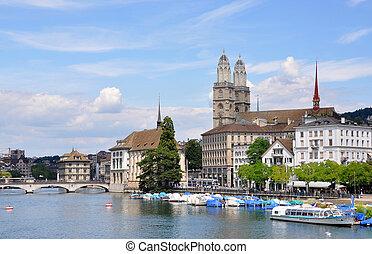 都市, grossmuenster, チューリッヒ, ホール, 教会, limmat 川, 横切って