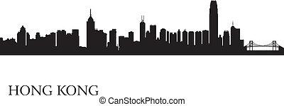 都市, hong, シルエット, kong, スカイライン, 背景