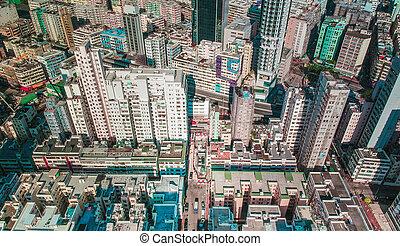 都市, hong, 航空写真, 区域, kong, 光景