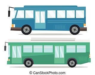 都市, illustration., バス, 2, ベクトル, サイド光景