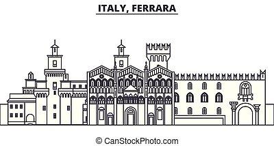 都市, illustration., 景色。, イタリア, ランドマーク, 有名, スカイライン, ベクトル, 光景, ...