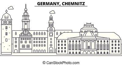 都市, illustration., 景色。, ランドマーク, 有名, スカイライン, ベクトル, 光景, 都市の景観, 線, ドイツ, chemnitz, 線である