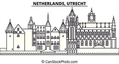 都市, illustration., 景色。, ランドマーク, 有名, スカイライン, ベクトル, utrecht, 光景, 都市の景観, 線, netherlands, 線である