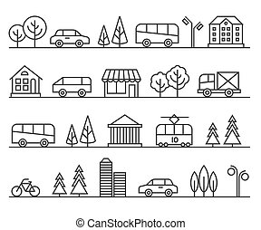 都市, illustration., 都市, ベクトル, 線, 風景