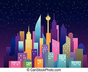都市, illustration., skyscrapers., パノラマ, 現代, ダウンタウンに, ベクトル, 風景