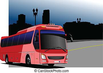都市, imag, パノラマ, 観光客, バス