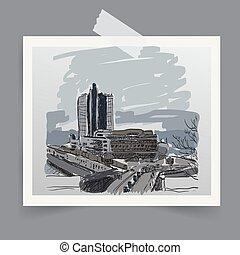 都市, image., 型, 写真, ベクトル, レトロ