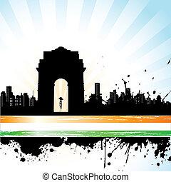 都市, indian, 三色旗, 背景, scape
