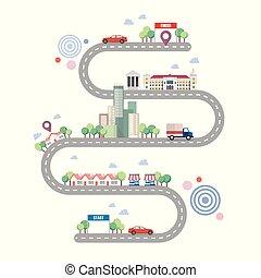 都市, infographic, 道, テンプレート