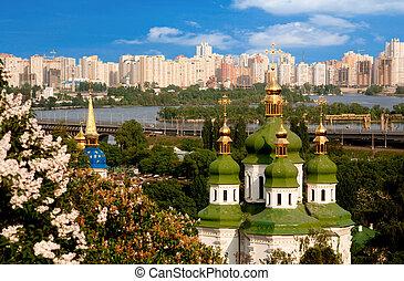 都市, kiev, 光景, 山