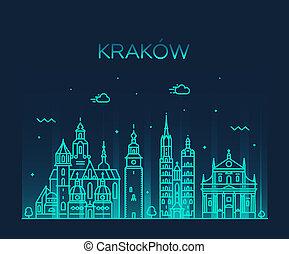 都市, krakow, 線である, poland., ベクトル, 最新流行である, スカイライン
