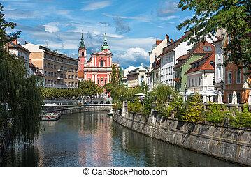 都市, ljublianica, 川, スロベニア, ljubljana, 光景