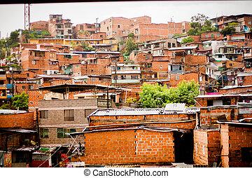 都市, medellin, ハウジング, ダウンタウンに, favela, タイプ