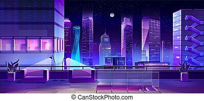 都市, megapolis, 現代, 都市の景観, 夜, 光景