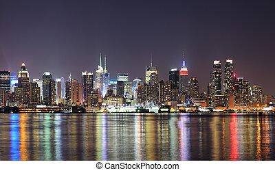 都市, midtown, スカイライン, ヨーク, 夜, 新しい, マンハッタン